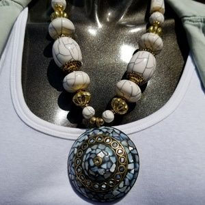 Mother of Pearl Statement Necklace - Reversable